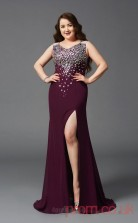 Trumpet/Mermaid Dark Burgundy Sequined V-neck Sleeveless Floor-length Plus Size Dress(PLJT8029)