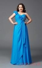 A-line Ocean Blue Satin Chiffon One Shoulder Sleeveless Floor-length Plus Size Dress(PLJT8037)