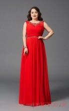 A-line Red Chiffon Jewel Sleeveless Floor-length Plus Size Dress(PLJT8039)