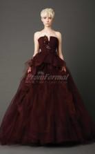 Tulle Strapless Ball Gown Floor-length Sleeveless Prom Dress(PRJT04-0939)