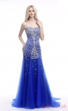 Light Royal Blue Tulle Trumpet/Mermaid Sweetheart Sleeveless Prom Dresses(JT4-LFDZC006)