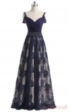 Navy Blue Chiffon Lace A-line Off The Shoulder Sleeveless Prom Dresses(JT4-LFDZC160)