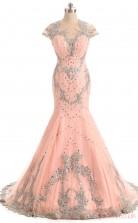Misty Rose Lace Trumpet/Mermaid Illusion Jewel Short Sleeve Prom Dresses(JT4-LFDZC177)
