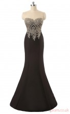 Black Satin Trumpet/Mermaid Illusion Jewel Sleeveless Prom Dresses(JT4-LG0225)
