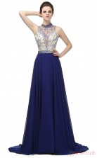 Royal Blue Chiffon A-line Illusion Jewel Sleeveless Prom Dresses(JT4-LG0272)