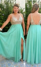 Cyan Chiffon A-line V-neck Sleeveless Floor-length Plus Size Prom Dress(PRPSD04-093)