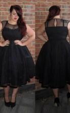 Black Organza A-line Illusion Short Sleeve Tea-length Plus Size Prom Dress(PRPSD04-100)
