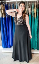 Black Chiffon A-line V-neck Sleeveless Floor-length Plus Size Prom Dress(PRPSD04-105)