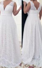 White Lace A-line V-neck Sleeveless Floor-length Plus Size Prom Dress(PRPSD04-107)