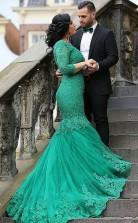 Sea Green Lace Trumpet/Mermaid V-neck 3/4 Length Sleeve Floor-length Plus Size Prom Dress(PRPSD04-118)