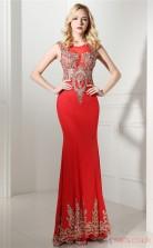 Red Satin Tulle Trumpet/Mermaid Jewel Sleeveless Prom Dresses(JT4-0641)