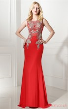 Red Satin Tulle Trumpet/Mermaid Jewel Sleeveless Prom Dresses(JT4-0642)