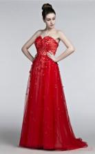 Burgundy Tulle A-line Sweetheart Sleeveless Prom Dresses(JT4-3006)