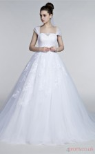 White Tulle Lace A-line Sweetheart Short Sleeve Prom Dresses(JT4-30010)