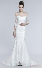 White Tulle Lace Trumpet/Mermaid Off The Shoulder Half Sleeve Prom Dresses(JT4-30011)