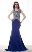 Royal Blue Satin Chiffon Trumpet/Mermaid Scoop Sleeveless Prom Dresses(JT4-CZM180)