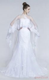 White Tulle Lace Trumpet/Mermaid Illusion Sleeveless Prom Dresses(JT4-30016)