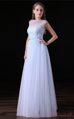 A-line Illusion Sleeveless White Lace Tulle Satin Prom Dresses(JT-4A017)