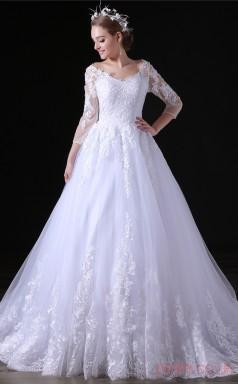 A-line V-neck 3/4 Length Sleeve White Tulle Satin Prom Dresses(JT-4A030)