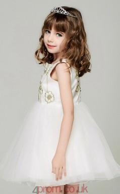 Princess Bateau Sleeveless Ivory Organza Mini Children's Prom Dress(AHC049)