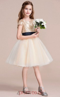 Princess Jewel Short Sleeve Gold Organza Sequined Knee-length Children's Prom Dress(AHC051)