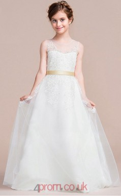 A-line Illusion Sleeveless White Lace Tulle Floor-length Children's Prom Dress(AHC061)