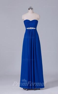 A-line Royal Blue Chiffon Floor-length Prom Dress(PRBD04-S451)