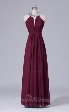A-line Dark Burgundy Chiffon Floor-length Prom Dress(PRBD04-S469)
