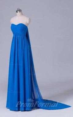 A-line Blue Chiffon Floor-length Prom Dress(PRBD04-S477)