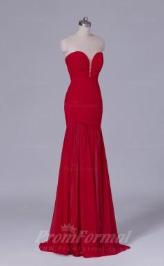 Trumpet/Mermaid Dark Red Chiffon Floor-length Prom Dress(PRBD04-S483)
