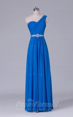 A-line Blue Chiffon Floor-length Prom Dress(PRBD04-S497)