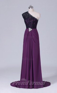 A-line Grape Velvet Chiffon Floor-length Prom Dress(PRBD04-S514)