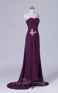 A-line Grape Chiffon Floor-length Prom Dress(PRBD04-S515)