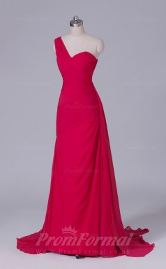 Sheath/Column Light Red Chiffon Floor-length Prom Dress(PRBD04-S516)