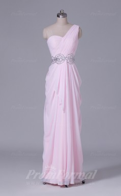 A-line Blushing Pink Chiffon Floor-length Prom Dress(PRBD04-S517)