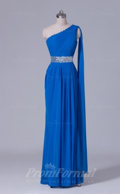 A-line Blue Chiffon Floor-length Prom Dress(PRBD04-S518)