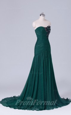 Trumpet/Mermaid Dark Green Chiffon Floor-length Prom Dress(PRBD04-S522)