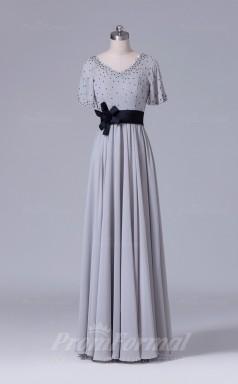 A-line Silver Chiffon Floor-length Prom Dress(PRBD04-S538)
