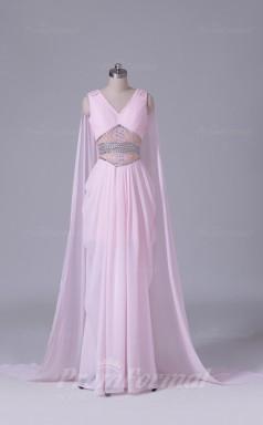 Sheath/Column Blushing Pink Velvet Chiffon Floor-length Prom Dress(PRBD04-S547)