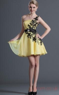 Yellow 100D Chiffon A-line One Shoulder Short Prom Dress(BD04-411)