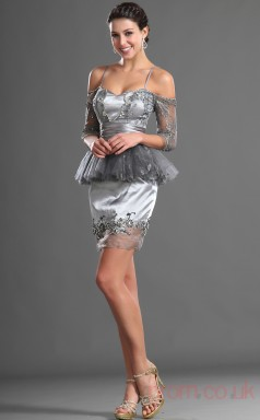 Silver Lace Sheath/Column Off The Shoulder Sweetheart Short Prom Dress(BD04-416)