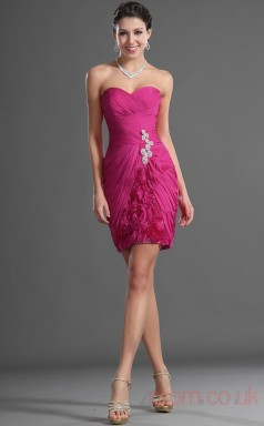 Fuchsia 100D Chiffon Sheath/Column Strapless Sweetheart Short Prom Dress(BD04-418)