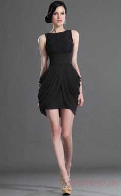 Black Lace Chiffon Sheath/Column Jewel Short Prom Dress(BD04-420)