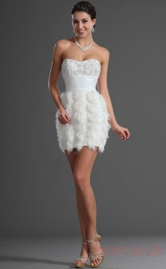 White 100D Chiffon Sheath/Column Strapless Sweetheart Short Prom Dress(BD04-422)