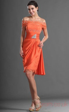 Orange Lace Chiffon Sheath/Column Off The Shoulder Short Prom Dress(BD04-424)