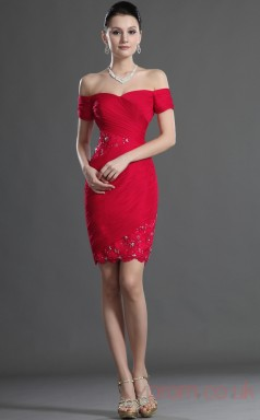 Red Lace Chiffon Sheath/Column Off The Shoulder Sweetheart Mini Prom Dress(BD04-425)