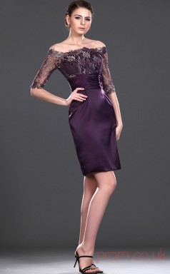 Grape Lace Satin Sheath/Column Off The Shoulder Mini Prom Dress(BD04-430)