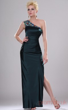 Dark Navy Satin Chiffon Sheath/Column One Shoulder Long Evening Dress-(BD04-433)