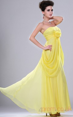 Daffodil 100D Chiffon A-line Strapless Long Evening Dress-(BD04-447)