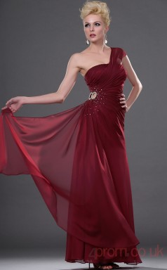 Burgundy 100D Chiffon Sheath/Column One Shoulder Floor-length Prom Dress(BD04-450)
